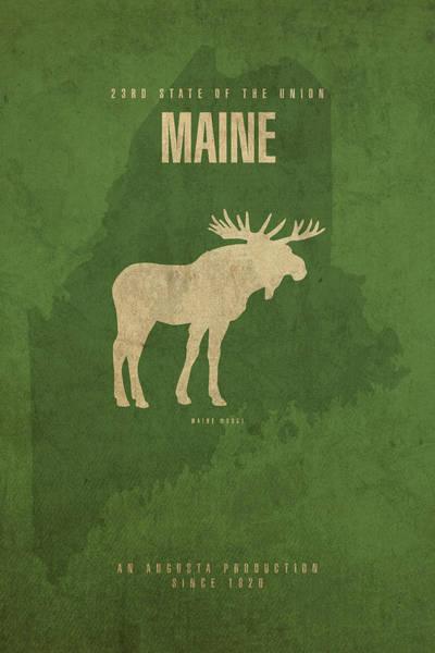 Maine State Facts Minimalist Movie Poster Art Art Print