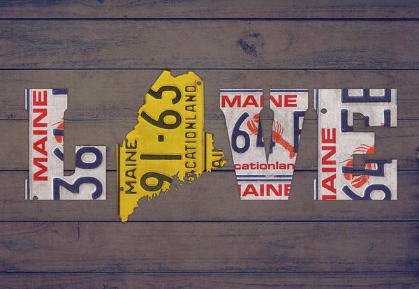 Maine State Love License Plate Art Phrase Art Print