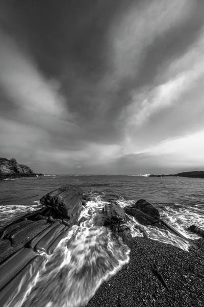 Art Print featuring the photograph Maine Storm Clouds And Crashing Waves On Rocky Coast by Ranjay Mitra
