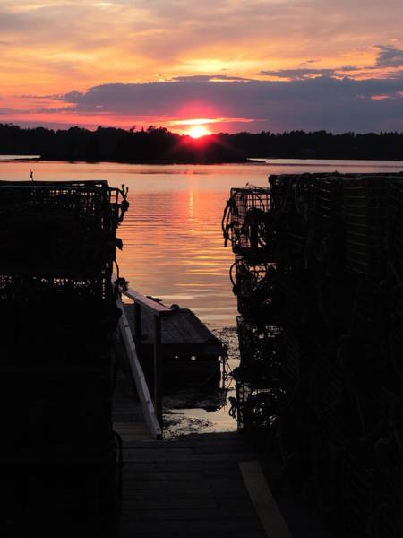 Lobstering Photograph - Maine Sunset And Traps by Bill Tomsa