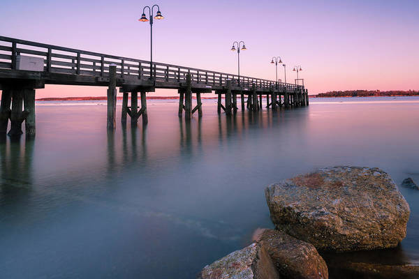 Photograph - Maine Sunset Over Yarmouth Fishing Pier And Boat Landing by Ranjay Mitra