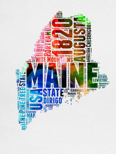 Map Art Mixed Media - Maine Watercolor Word Cloud  by Naxart Studio