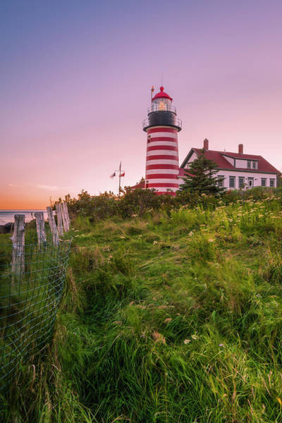 Photograph - Maine West Quoddy Head Light At Sunset In Autumn by Ranjay Mitra
