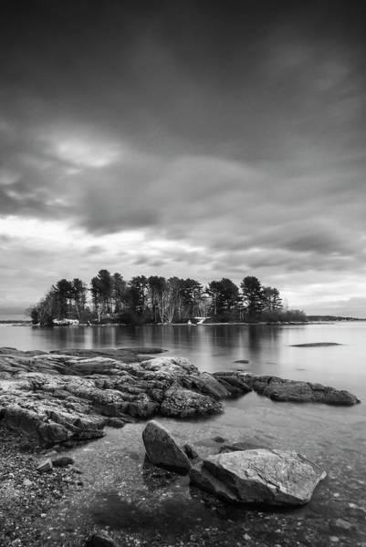 Photograph - Maine Winslow Park Rocky Coast Bw by Ranjay Mitra