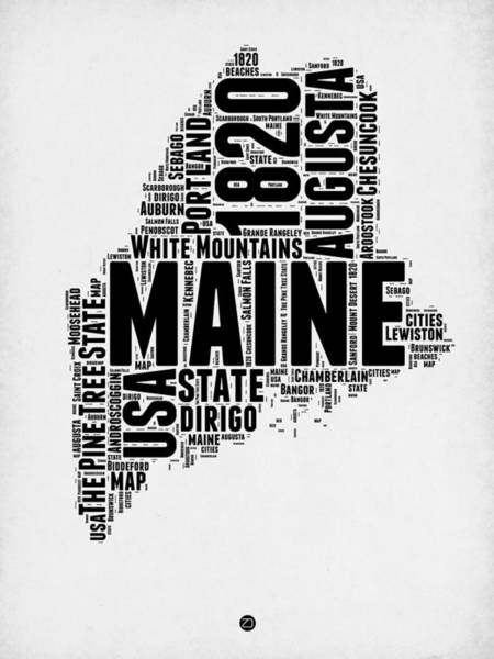 Map Art Mixed Media - Maine Word Cloud 2 by Naxart Studio