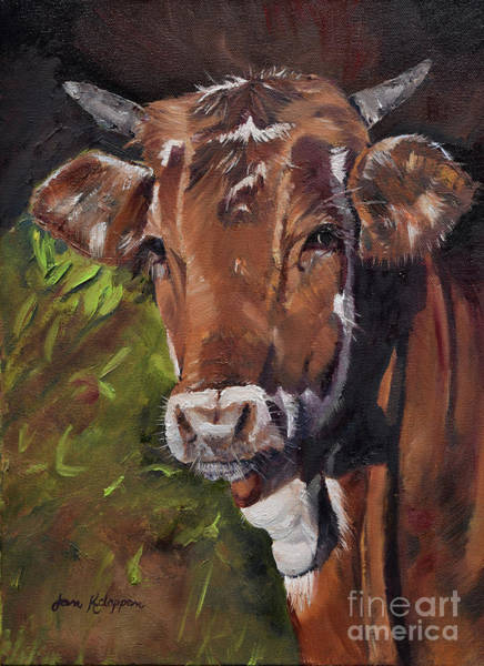 Painting - Maisy The Cow- Brown Cow - Moo by Jan Dappen