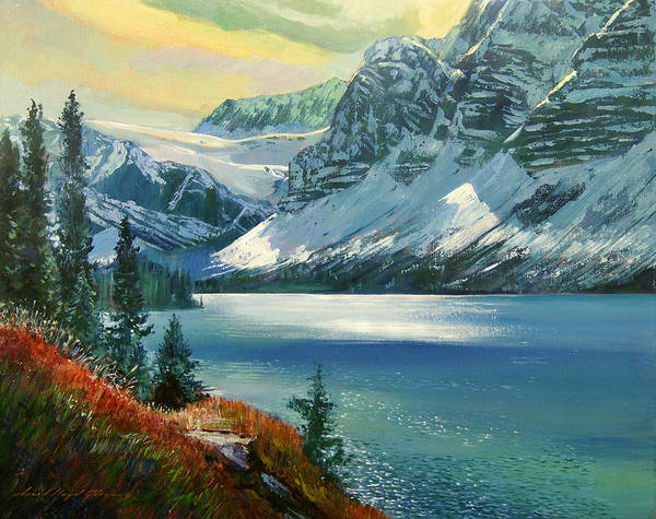 Banff Wall Art - Painting - Majestic Bow River by David Lloyd Glover