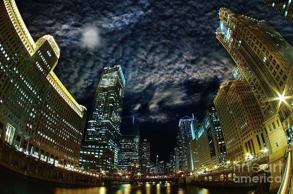 Wall Art - Photograph - Majestic Chicago - Windy City Riverfront At Night by Bruno Passigatti