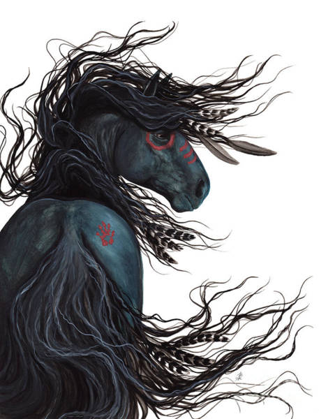 Native Painting - Majestic Horse Friesian 135 by AmyLyn Bihrle