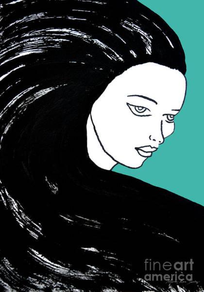 Majestic Lady J0715k Turquoise Green Pastel Painting 15-5519 41b6ab Art Print