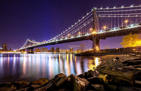 Suspension Bridge Photograph - Majestic Manhattan by Az Jackson