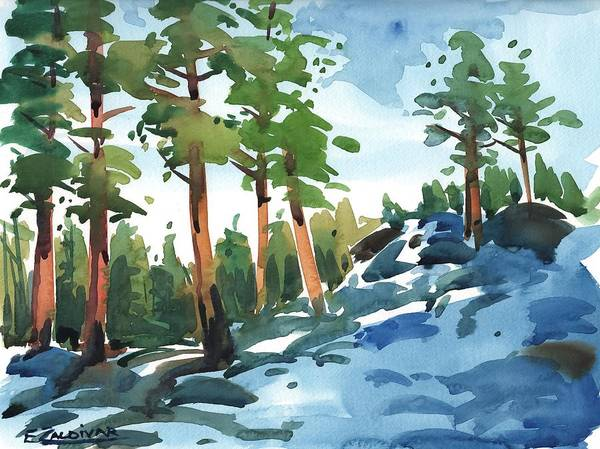 Painting - Majestic Pines In The Snow by Enrique Zaldivar