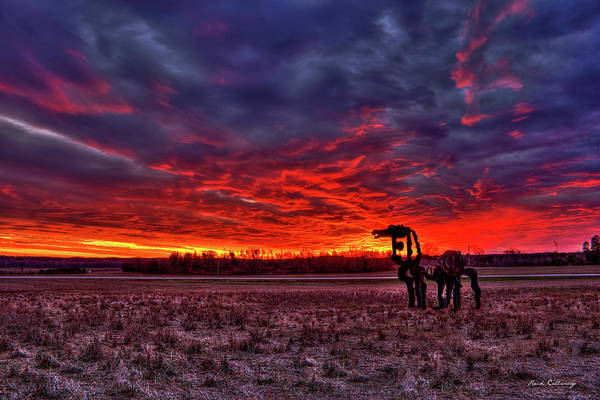 Photograph - Majestic Red Clouds Winter Sunset The Iron Horse Art by Reid Callaway