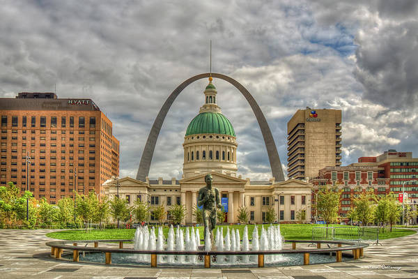 Photograph - Majestic Sky St Louis Gateway Arch Old St Louis County Court House St Louis Missouri Art by Reid Callaway