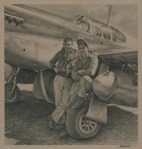 Wall Art - Drawing - Major Edward Mccomas And Crew Chief 1944 by Wade Meyers