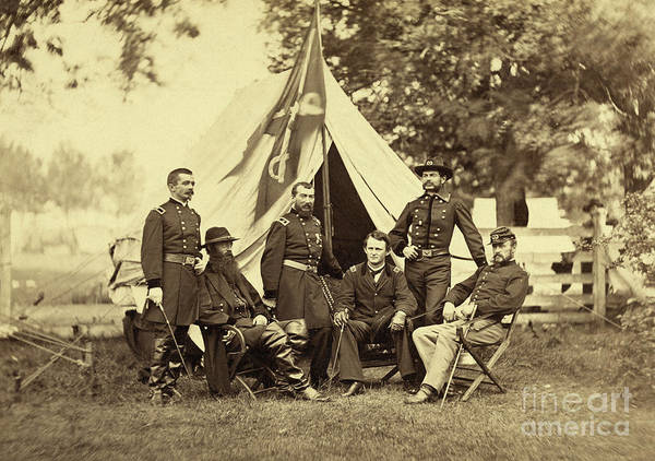 Wall Art - Photograph - Major General Philip Sheridan And His Generals by American School