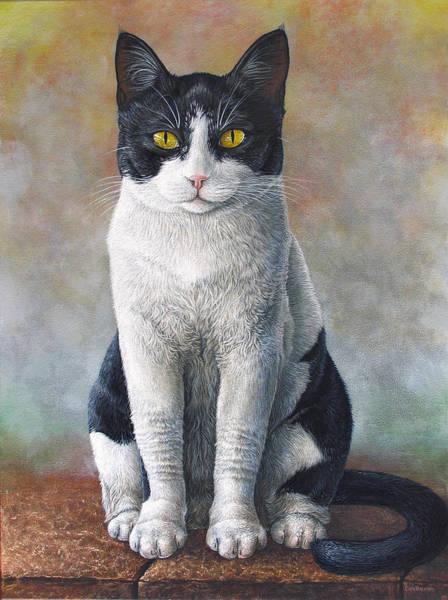Tuxedo Cat Painting - Major The Cat by Cara Bevan