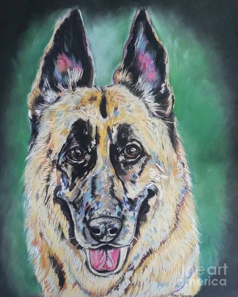 Wall Art - Painting - Major, The German Shepherd  by Arrin Burgand