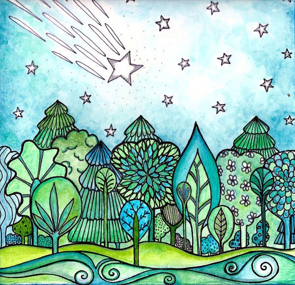Shooting Star Wall Art - Painting - Make A Wish by Robin Mead