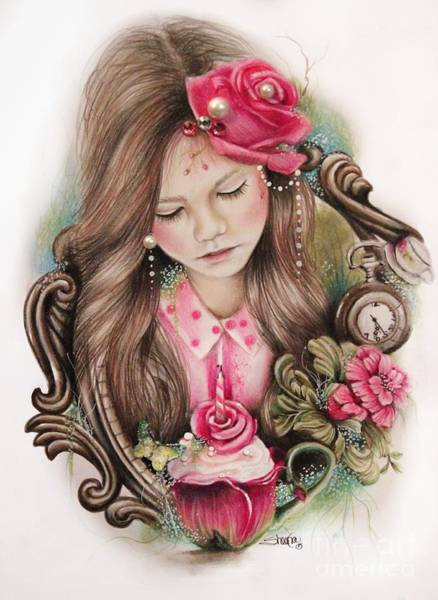 Coloured Pencil Drawing - Make A Wish  by Sheena Pike