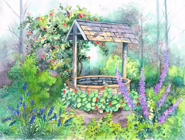 Wishing Well Painting - Make A Wish by Val Stokes
