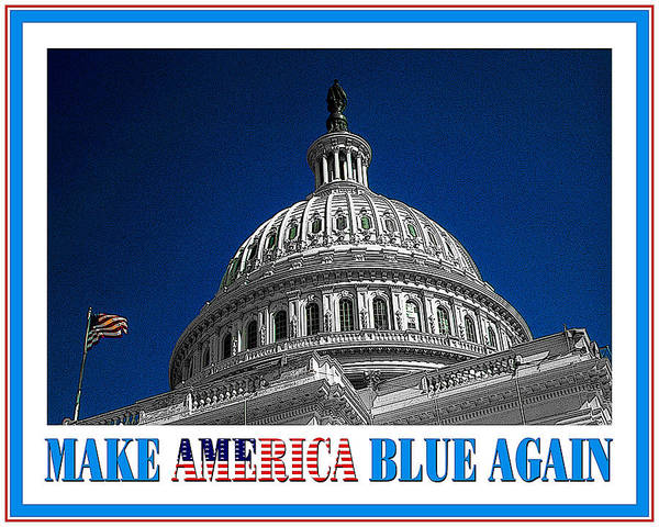 Mixed Media - Make America Blue Again - Political Poster For Democracy by Peter Potter