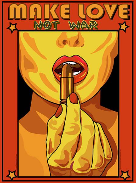 Wall Art - Digital Art - Make Love Not War Pop Art by Larry Butterworth