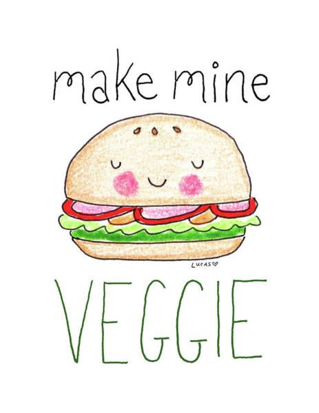 Vegan Drawing - Make Mine Veggie by Ashley Lucas