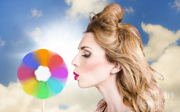 Skin Care Wall Art - Photograph - Makeup Beauty Girl Blowing Hair Colors Palette by Jorgo Photography - Wall Art Gallery
