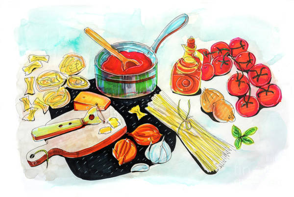 Drawing - making Italian tomato's sauce by Ariadna De Raadt