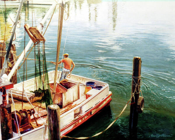 Shrimp Painting - Making Ready by Randy Welborn
