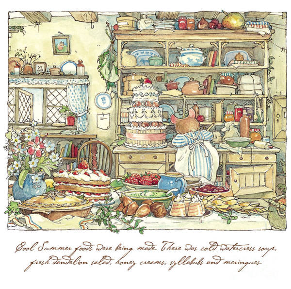Wall Art - Drawing - Making The Wedding Cake by Brambly Hedge