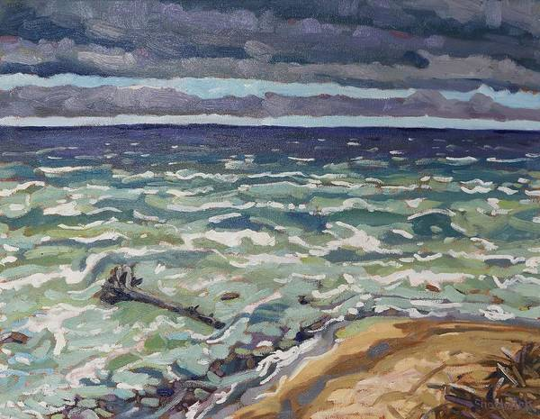 Lake Huron Painting - Making Waves In Oil by Phil Chadwick
