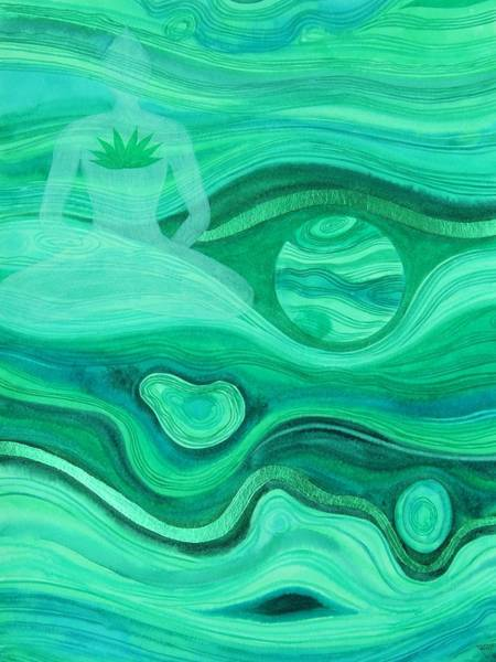 Wall Art - Painting - Malachite Heart  Chakra by Jennifer Baird