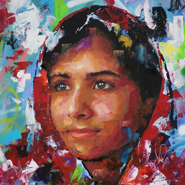 Nobel Wall Art - Painting - Malala Yousafzai II by Richard Day