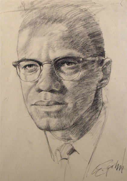 Wall Art - Drawing - Malcolm X by Cliff Spohn