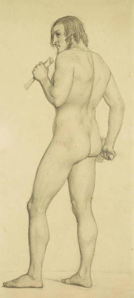 Ford Drawing - Male - Academic Nude Study Posed As A Sculptor by Ford Madox Brown