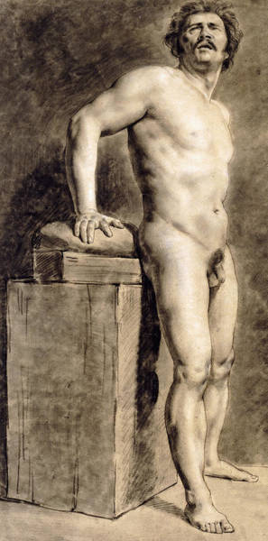 Mustache Painting - Male Academy Figure by Ferdinand Victor Eugene Delacroix
