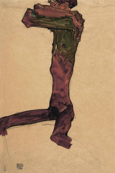 Selfportrait Painting - Male Act, 1910 by Egon Schiele