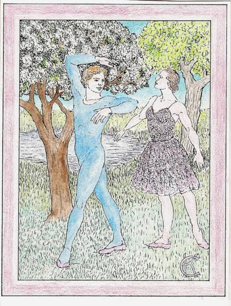 Painting - Male And Female Ballet Dancers Dance Among Flowering Trees by Catinka Knoth
