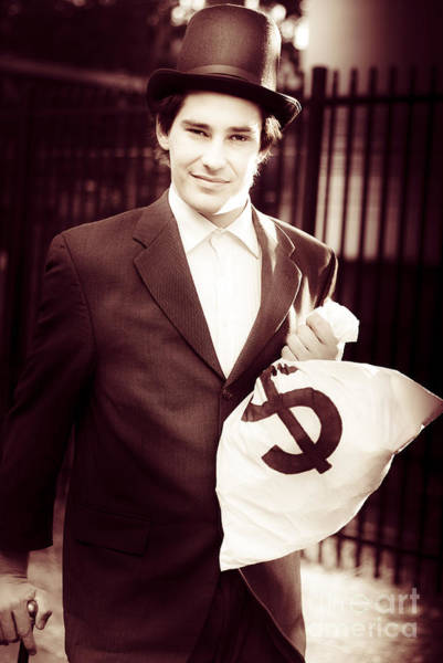 Photograph - Male Banker Holding Dollar Sign Money Bags by Jorgo Photography - Wall Art Gallery