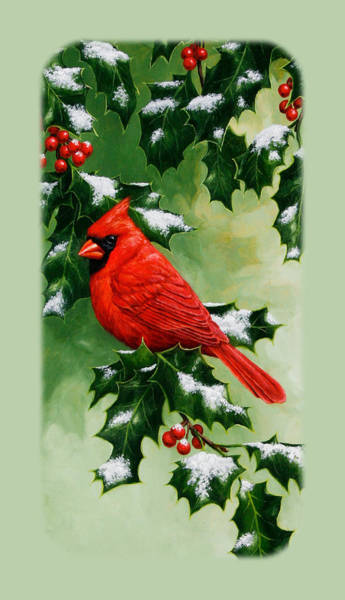 Northern Cardinal Wall Art - Painting - Male Cardinal And Holly Phone Case by Crista Forest