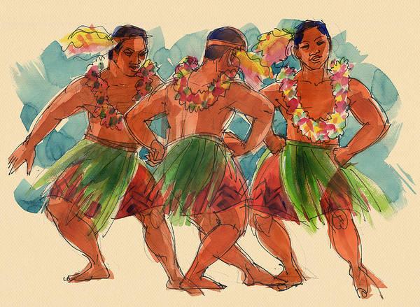 Painting - Male Dancers Of Lifuka, Tonga by Judith Kunzle