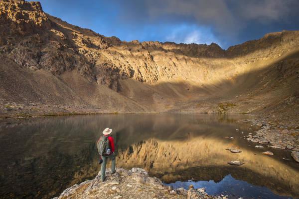 Male Hiker Enjoying The View Of Hidden Art Print