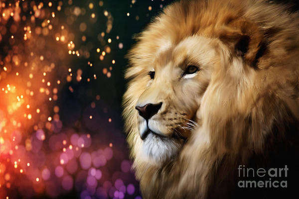 Digital Art - Male Lion On An Enchanted Sparkling Night by Tracey Everington