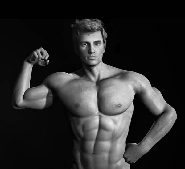 Digital Art - Male Model Render Series 01 by Carlos Diaz