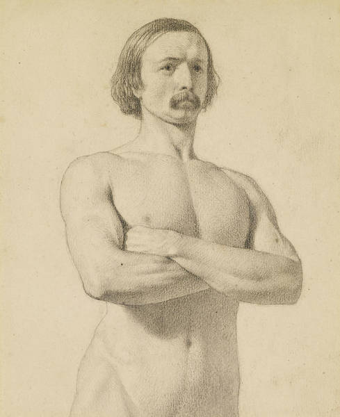 Ford Drawing - Male Nude - Academic Nude Study, Half-length With Moustache And Arms Folded  by Ford Madox Brown