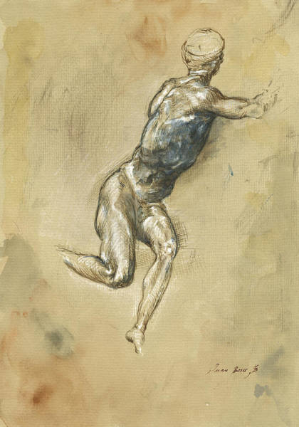 Renaissance Wall Art - Painting - Male Nude Figure by Juan Bosco