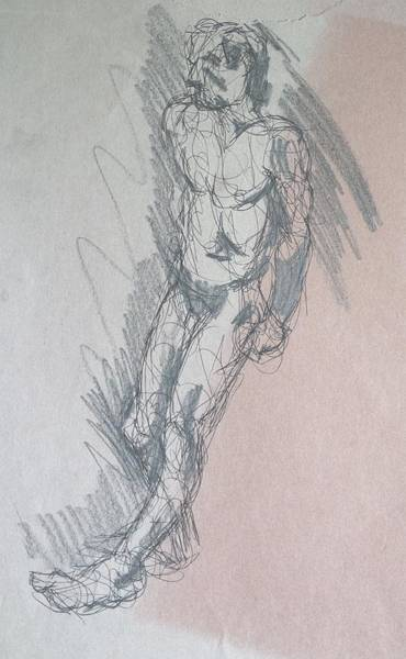 Drawing - Male Nude Leaning Back Against Wall by Mike Jory