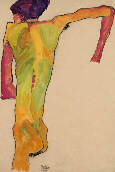 Male Nude Drawing - Male Nude, Propping Himself Up by Egon Schiele